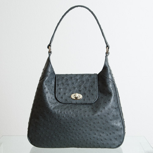 Charcoal ostrich tote-4622