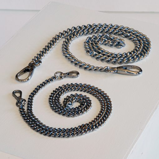 Chain straps for leather handbags