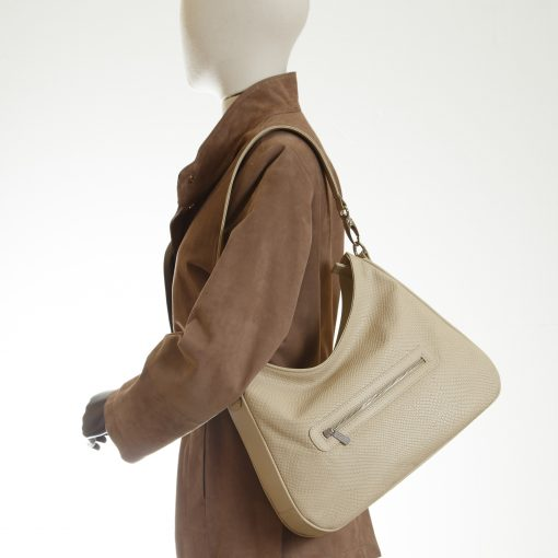 Classic hobo bag in cream embossed leather