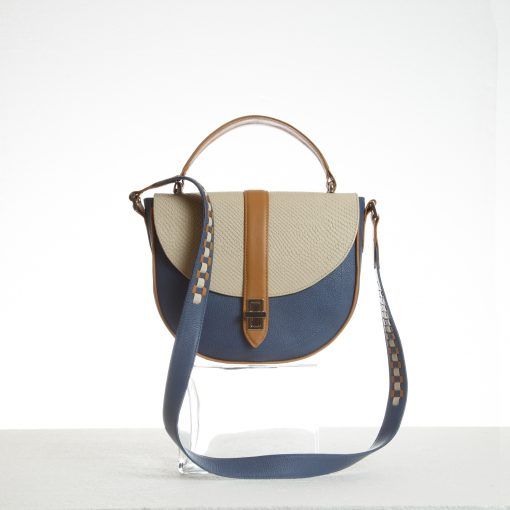 Half moon handbag with top handle and strap detail