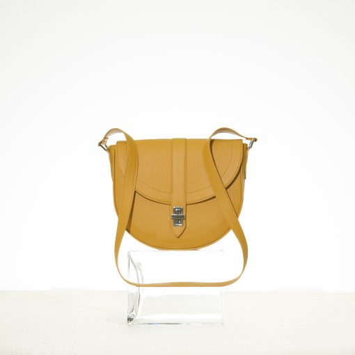 Mustard leather half moon shaped handbag