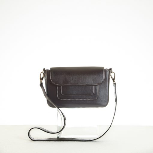 Black shoulder bag with flap