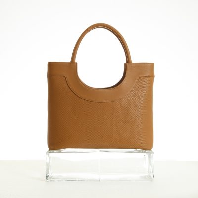 Tote bag in tan embossed leather