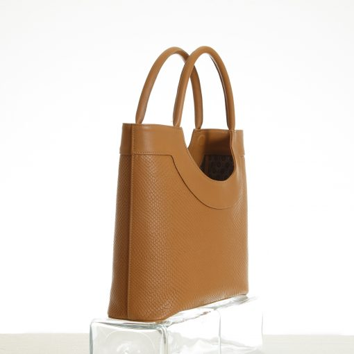 Tote bag detail in tan embossed leather