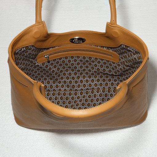 Interior detail of tan tote bag